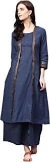 Bhama Couture Women's Cotton Straight Salwar Suit Set (Pack of 2)