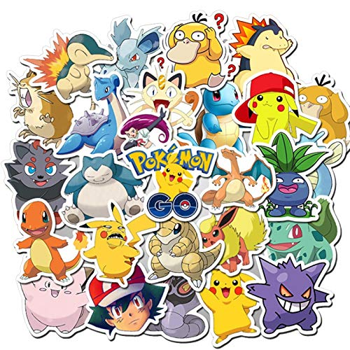 50Pcs Pokemoner Stickers Anime Cartoon Waterproof Funny Sticker Bomb For Scrapbook Phone Laptop Skateboar Decal Kids Reword Toys