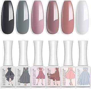 Gel Nail Polish 6 Colors 10 ML Neutral Pastel Gel Polish Soak Off LED Nail Gel Polish Pink Gray White Nude Nail Gel Set Na...