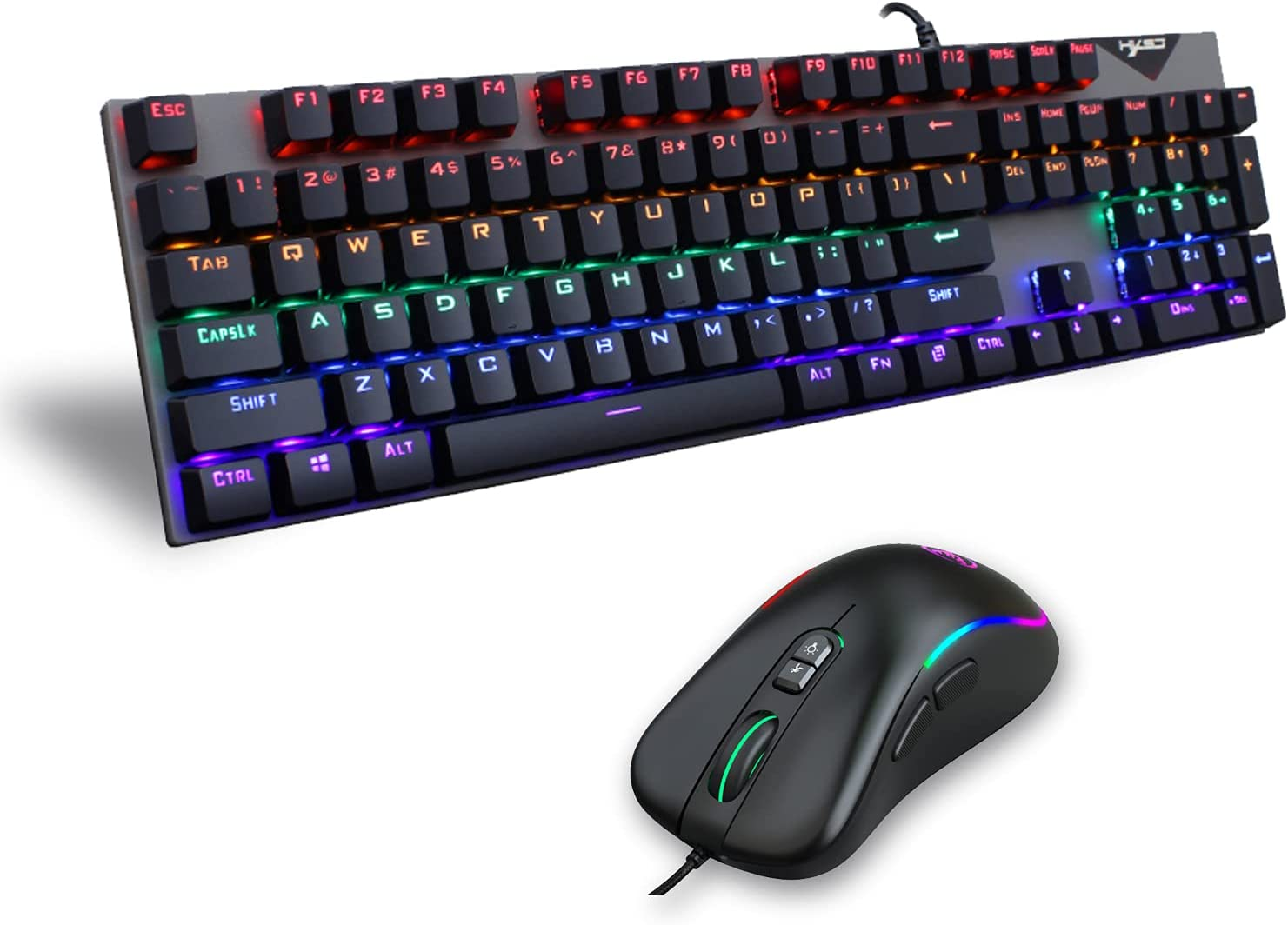 Gaming Keyboard and Mouse Combo, 104 Keys Blue Switch Rainbow Backlit Wired Mechanical Keyboard and 6400DPI RGB Programmable Mouse Set, for Gamer PC Laptop Windows Mac (Black)