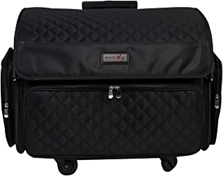 Everything Mary 4 Wheels Collapsible Deluxe Sewing Machine Storage Case, Black - Rolling Trolley Carrying Bag for Brother,...