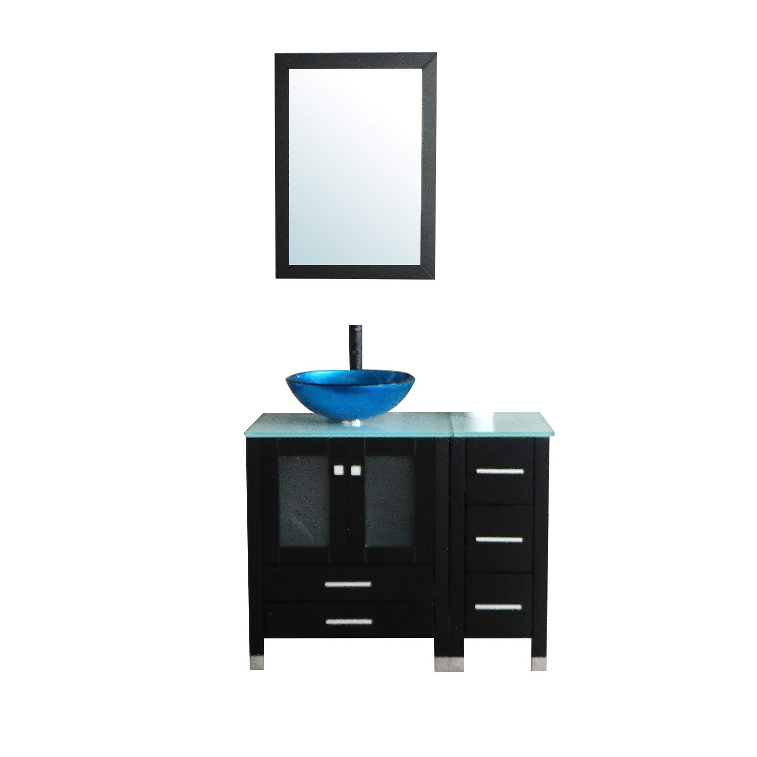 Walcut 36 Bathroom Vanity And Sink Combo Mdf Wood Cabinet And Glass Vessel Sink And Faucet Combo 1 Amazon Com