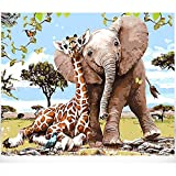 MiDenso Paint by Numbers DIY Easy Funny Painting Kit for Kids Adults Beginner 16' by 20' Colorful Pattern with Gift Wrap Stocking Stuffer Christmas Birthday Gifts for Him Girls, Elephant Giraffe