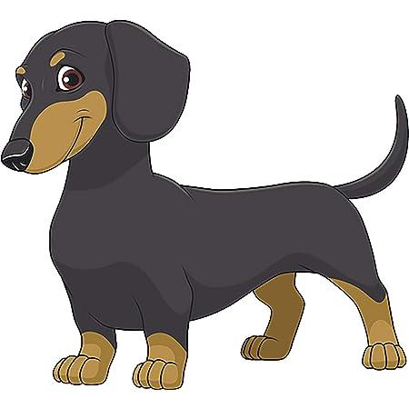 HAPPY WIENER DOG CARTOON DACHSHUND GRAPHIC DECAL STICKER ART CAR WALL DECOR