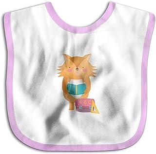 UBCATDESA Educational Fox Reading Book Baby Bibs, Unisex Baby Soft Cotton Easily Clean Teething Bibs(Blue&Pink)
