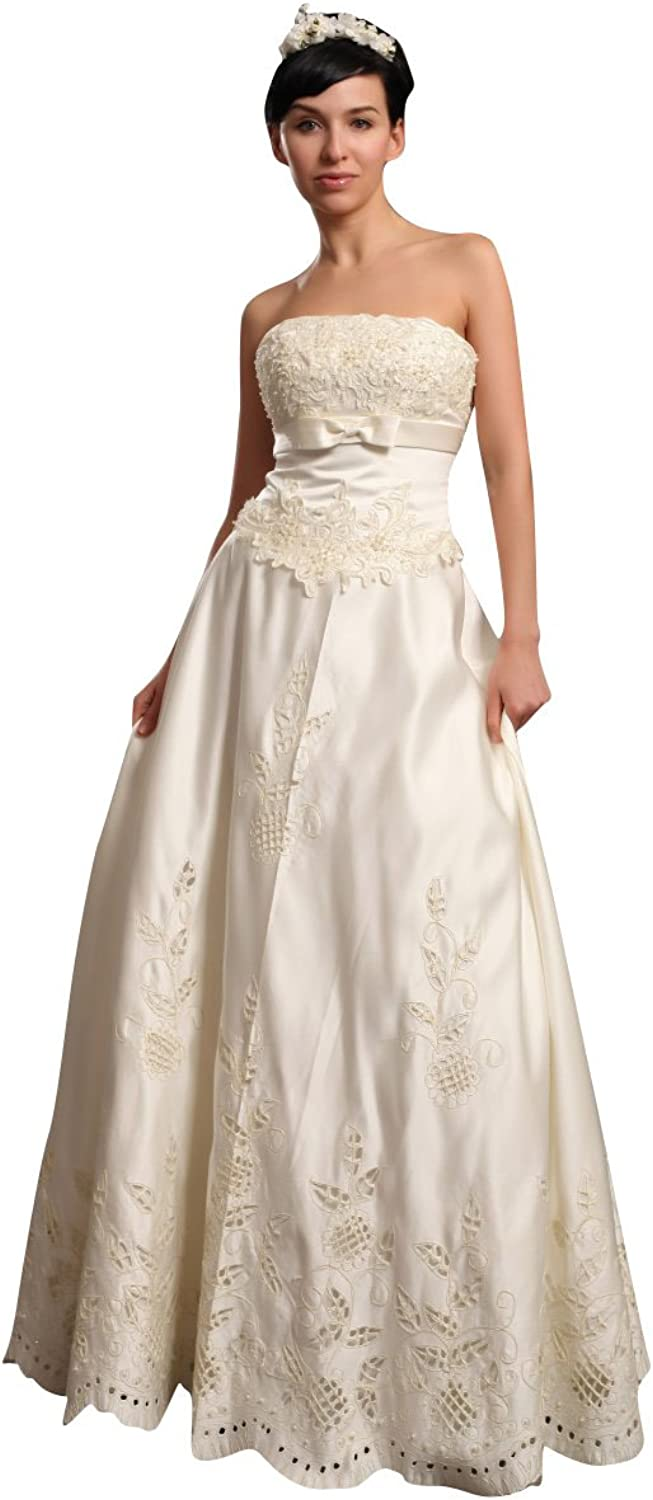 Vampal Ivory Strapless Satin FloorLength Wedding Dresses With Antique Lace