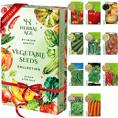 11 Vegetable Seed Mix - 3500 Seeds - Tomato, Sweet Pepper, Onion, Lettuce, Courgette, Cucumber, Cherry Tomato, Carrots, Peas, Spinach, Cayenne Pepper Ready for Planting Outdoors, Grow Your Own Garden