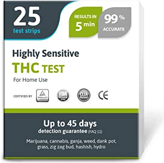 Highly Sensitive Marijuana THC Test Kit - Medically Approved Drug Test Strips for Detecting Any Form of THC in Urine up to...