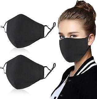 2PCS Unisex Dust Cotton Black Cover, Washable Reusable Cotton Fabric for Men Women outside