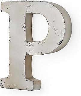 MONTEMAGGI Lettera P in Metallo Color Avorio Anticato 26X5X30 cm Variante Unica