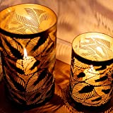 ZEYA Windlicht schwarz Metall 2er Set, Windlicht Gold Deko, Perfekte Dekoration Wohnzimmer, Windlicht Laterne Blätter - 5