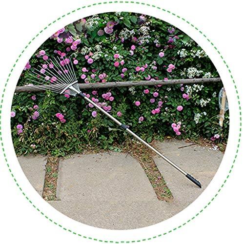 Gzhenh Escoba Jardín,Herramientas para El Hogar Jardinería Escalable Rastrillo De Césped Rastrillar...