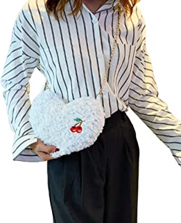 Ronshin Fashion Women Cute Plush Pouch Love Shape All-match Purse Cross-body Chain Single Shoulder Bag