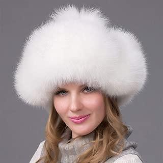 Guomao Female Winter Hat Ear Cap Hezi Whole Skin Fox Fur Hat Fox Fur Hat Fur Hat Millinery (Color : White)
