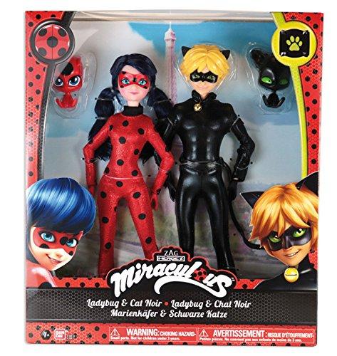 Prodigiosa: Las aventuras de Ladybug - Pack 2 muñecas Ladybug y Cat Noir (Bandai 39810)
