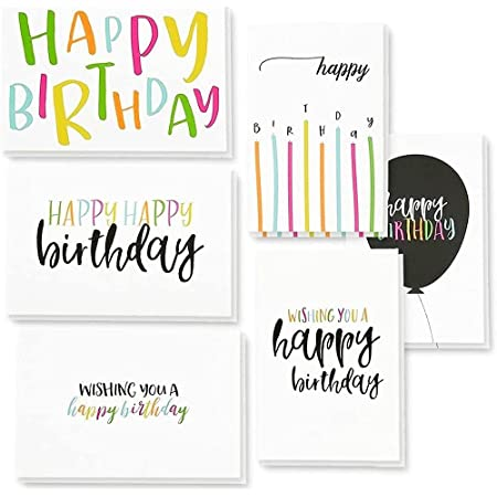 Set of 6 Birthday Cards; Blue with yellow flowers birthday cards; Happy Birthday card; assorted sentiments; Handmade greeting card set;