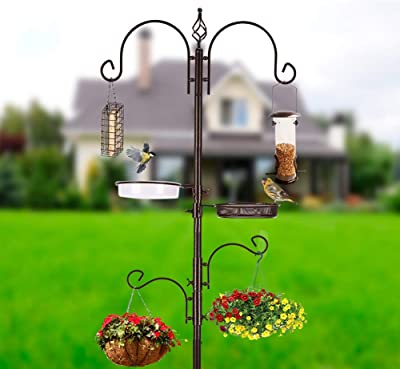 MIXXIDEA Deluxe Bird Feeding Station Kit Bird Feeder Pole Bird Feeder Hanging Kit Multi Feeder Hanging with Metal Suet Feeder Bird Bath Mesh Tray for Attracting Wild Birds and Planter Hanger (1 Pack)