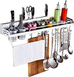 Kitchen Wall Pot Rack, Aluminum Wall Hanging Shelf Cookware Organizer Wall Mounted Pot Pan Rack with Knife Slots and 2 Ute...