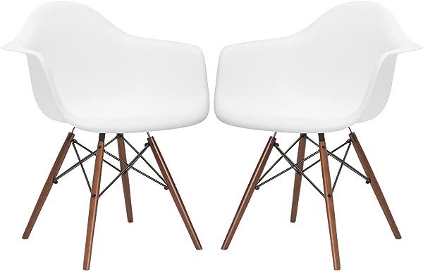 Poly And Bark Vortex Arm Chair Walnut Leg White Set Of 2