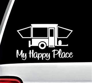 Pop Up Camper Travel Trailer Happy Place Decal Sticker for Car Window 7 Inch BG 199