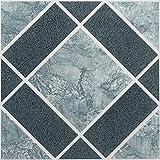 Ben&Jonah Collection Nexus Light & Dark Blue Diamond Pattern 12x12 Self Adhesive Vinyl Floor Tile - 20 Tiles/20 sq Ft.