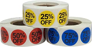 Percent Off Stickers Multi Pack 25% 50% 75% for Retail Thrift Sale Discount 3/4 Inch 1,500 Total Stickers