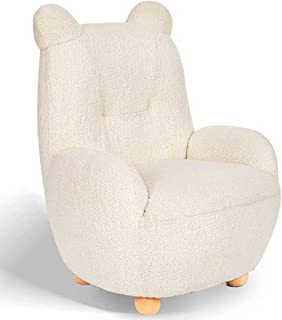 Kid Sofa Chair, Bear style Children's lambswool Soft Sofa for Ideal Kid Birthday Gift for Playroom Bedroom Living Room (Wh...