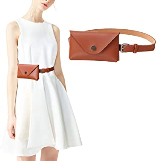 Womens Leather Belt Fanny Pack with Removable Belt Tassel Waist Pouch Fashion Belt Bags