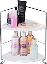 KINGBERWI 2-Tier Corner Storage Shelf Stackable Organizer for Cosmetics, Bathroom, Kitchen, Countertop, and Vanity, Silver