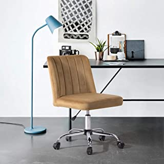 FurnitureR Task Chair Office Chair Mid-Back Armless Adjustable Height Swivel Rolling with Metal Legs Velvet/PU/Fabric Upho...