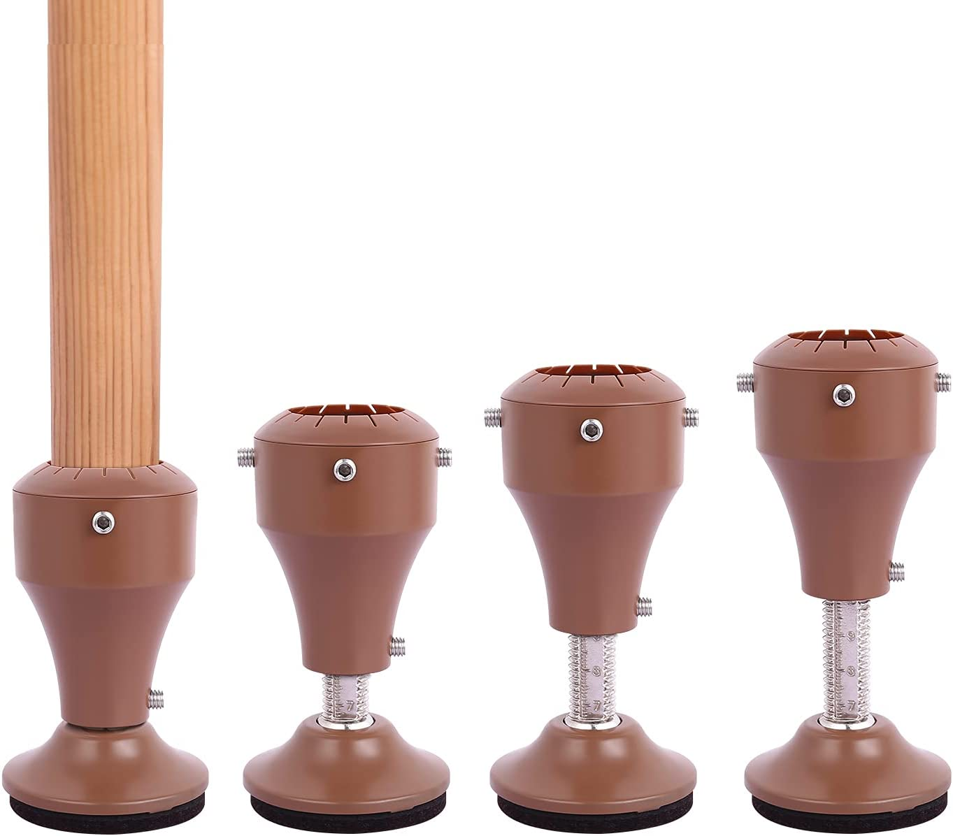 4 Pack Adjustable Chair Risers, Risers for Chair Legs, Height from 7cm to 10cm, 360° Rotatable Furniture Riser Base, Heavy Duty Design Fit Chair Table Desk Sofa Feet Diameter from 3cm to 4cm, Brown