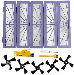 交換NeatoフィルターNeato NeatoのためのサイドブラシBotvac DシリーズD85、D80、D75 Neato Botvac接続されたSerie D5、D3掃除機付属品(5個のフィルターと5個のサイドブラシを含む) (B)