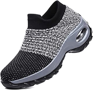 Heyean Sneaker Shoes for Women Running Shoes Walking Shoes Lightweight Super Soft Height Increase Slip On Stylish Platform Wedge Walking Shoes for Travel Outdoor