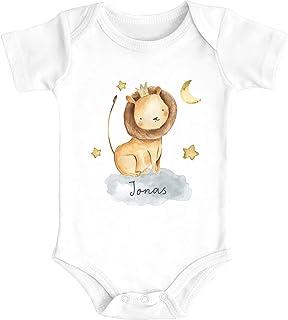 SpecialMe Baby Body mit Namen Bedrucken Lassen Tier-Motive Nashorn Löwe Elefant Watercolor Kurzarm Bio Baumwolle