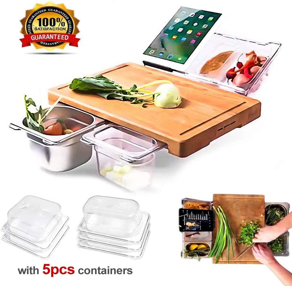 2020 New Extensible Bamboo Cutting Board with 4 Containers Set, Tray Drawer Storage Cutting Board - Easy Food Prep Chopping and Serving Board for Meats Bread Fruits