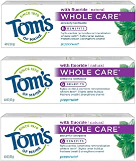 Sponsored Ad - Tom's of Maine Whole Care Toothpaste, Toothpaste, Natural Toothpaste, Peppermint, 4.0 Ounce, 3-Pack