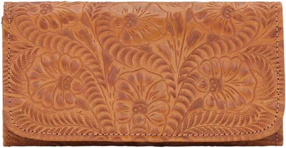Genuine Leather Ladies Folded Wallet Co Tooled Hand Vintage 人気ショップが最安値挑戦 Slim 送料無料