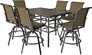 Pebble Lane Living All Weather Rust Proof Indoor/Outdoor 7 Piece Powder Coated Aluminum Patio Bar Dining Set, 1 Slat Top Bar Table & 6 Swivel Padded Sling Bar Arm Stools, Bronze/Black