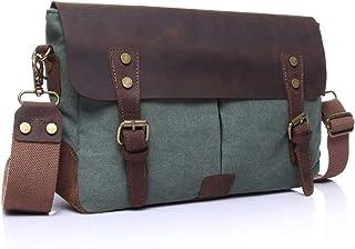 Nfudishpu Men Leather Shoulder Messenger Bag Men's Crossbody Retro Shoulder Bag Briefcase Crazy Horseskin Small Bag Crossb...