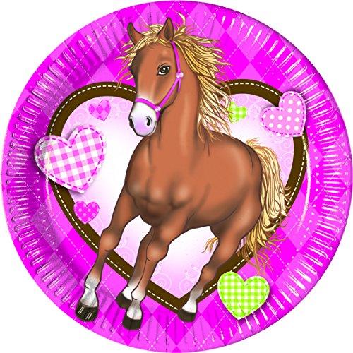 Party Lot de 8 assiettes/Assiettes en carton/jetables pour assiettes jetables/Harnais pour poney/chevaux – Fête d'anniversaire Fille de fête à thème/Cheval/pique-nique/d'été pour fête/fête/grill de jardin/décoration anniversaire enfant – fille 16 Teller