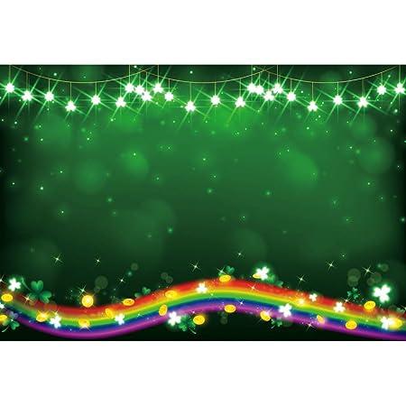 Haoyiyi 10x10ft Happy St.Patricks Day Backdrop Lucky Shamrock Clover Clovers Leaf Bokeh Halos Shine Background Photography Children Festival Celebration Photo Video Decorations Banner