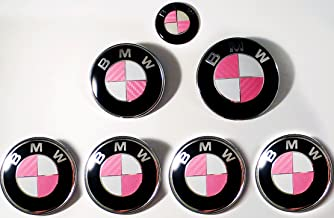PINK Carbon Fiber Sticker Overlay Vinyl for All BMW Emblems Caps Logos Roundels