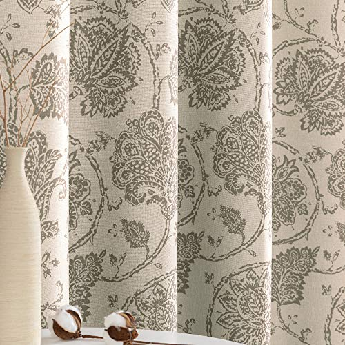 jinchan Floral Scroll Printed Linen Textured Curtains Grommet Top Ikat Flax Textured Medallion Design Jacobean Room Darkening Curtains Retro Living Room Window Covering Taupe 63 inch Long Two Panels