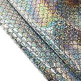 Zaione Rollo de papel de sirena (21 cm x 135 cm), para pesca, holográfico, lentejuelas, piel sintética, para manualidades, funda para teléfono, costura, patchwork, bricolaje, manualidades
