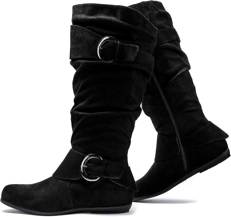 Luoika Women's Wide Width Mid Calf Boots Flat Heel Extra Wide Calf Winter Boots.