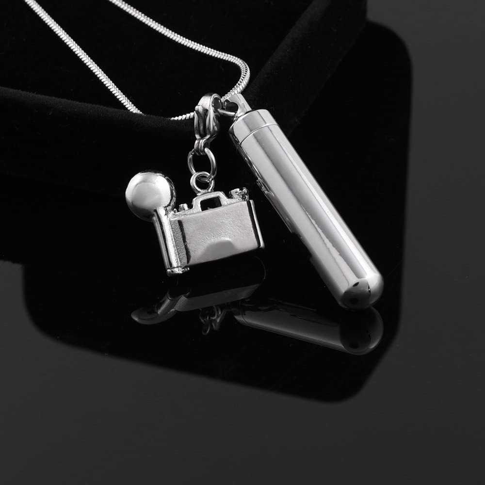Cylinder Charm Cremation Pendant Necklace with Accessories Pendant for Ashes Memorial Urn Necklaces Keepsake Cremation Jewelry