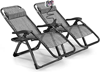 eChamp Oversized Zero Gravity Lounge Chair Set of 2 Adjustable Recliner Chair Outdoor Indoor Travel - Easy to Carry (Gray)