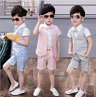 子供 キッズ 半袖 夏 チェック柄 4点セット フォーマル スーツ ベスト セット 子供スーツ フォーマルスーツ 男の子 上下セット ワイシャツ ハーフパンツ