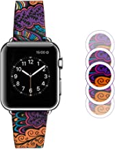 TIDALY Compatible Apple Watch Band 38mm, Retro Flower Green iWatch Strap Replacement Soft Sport Wristband Bracelet Accessories Compatible Apple Watc Series 1/2/3 38mm, Retro Flower Purple