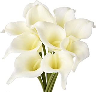 ATPWONZ 10pcs Calla Lily Artificial Flowers Wedding Bridal Bouquet Latex Real Touch Home Party Decoration (Pale Yellow)
